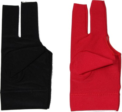 Billiedge Combo of Black And Red Nail Cut Billiard Gloves (Free Size, Multicolor)