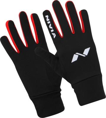 Nivia Performaxx Running Gloves (S, Black, Red)