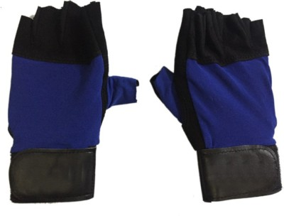 CP Bigbasket Sweat leather blue & black Gym & Fitness Gloves (Free Size, Blue, Black)