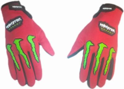 Monster Biker Riding Gloves (L, Red)