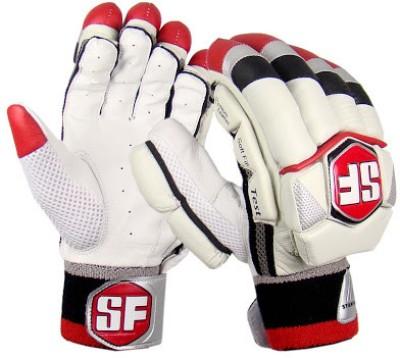 Stanford Test Mens Batting Gloves (L, White, Red, Black)