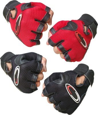 Jack & Ginni Gyming Gym & Fitness Gloves (Free Size, Red, Black)