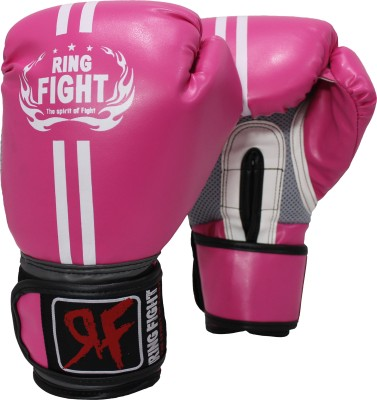 Ring Fight Pro Boxing Gloves (L, Pink)