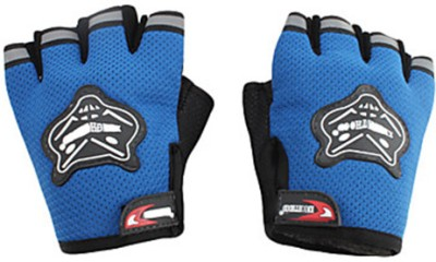 Knighthood 1 Pair of Half Hand Grip for Bike Motorcycle Scooter Riding - Blue Colour Driving Gloves (L, Multicolor)