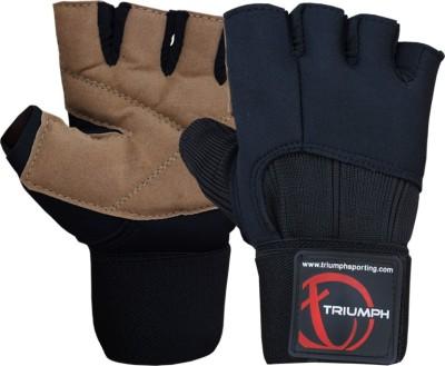 Triumph G-Max Brown Gym & Fitness Gloves (L, Black, Brown)