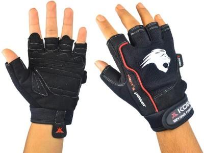 Kobo Mens Power Gym & Fitness Gloves (XL, Black, Red)