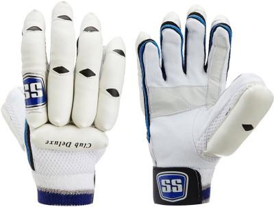 SS Club Deluxe Batting Gloves (Men, White, Blue)