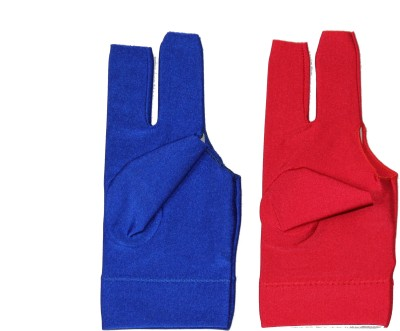 Billiedge Combo of Blue And Red Nail Cut Billiard Gloves (Free Size, Multicolor)