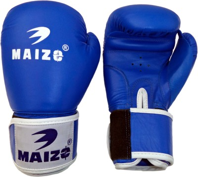 Maizo Competition Style Leather Moulded Boxing Gloves (L, Blue, White)