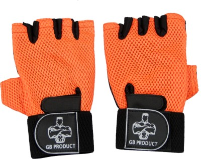 GB ORANGE TOP GRADE Gym & Fitness Gloves (Free Size, Orange)