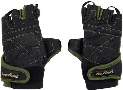 Ecowellness Aerobic QW-93 M Gym & Fitness Gloves (M, Black, Green)