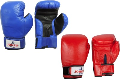 JJ JONEX SUPER QUALITY Boss with velcro Boxing Gloves (M, Red, Blue)