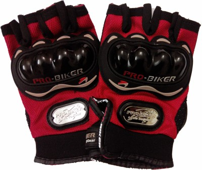Pro Biker Half Cut Driving Gloves (L, Red, Black)