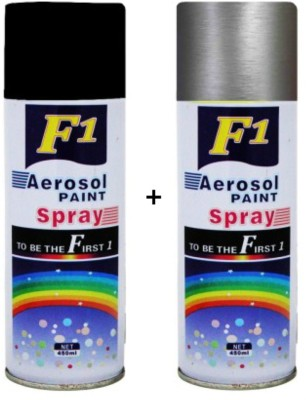 F1 Black & silver Spray Paint 450 ml