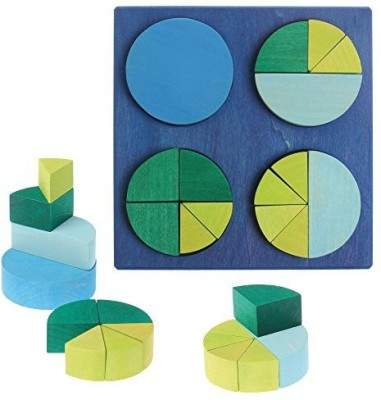 Grimm's Spiel and Holz Design Wooden Fraction Circles in Blue