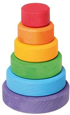 Grimm's Spiel und Holz Design Grimm's Small WoodenRainbow Conical Stacking Tower, Made in Germany