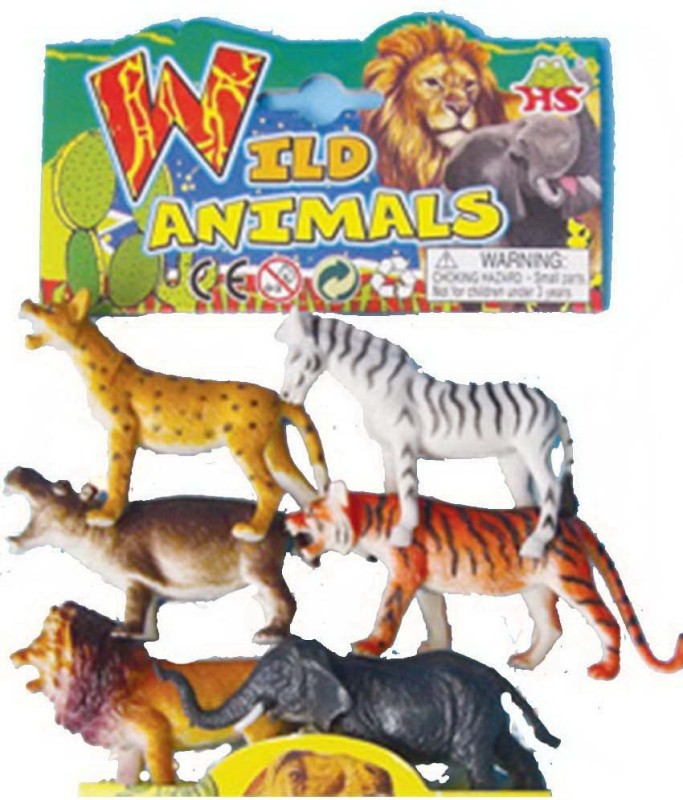 Angella WILD ANIMALS (6 PIECES) LARGE PLASTIC TOY SET(Multicolor)
