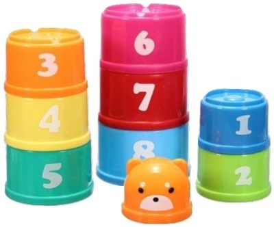 Little Grin Non toxic Baby Stacking Joy Cups with numbers and alphabets for Infants and Toddlers Gift Toy for Kids