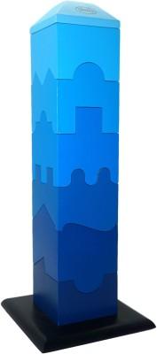 Skola Jigsaw Tower - 3D Stacking Pieces - Blue(Blue)