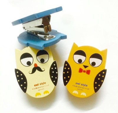 Max Manual No 10-1m Owl shape Stapler(Set of 1, Blue, Orange, Offwhite)