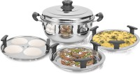 Kitchen Essentials Induction Bottom Mini Multi Kadai with 5 Plates(2Idli+2Dhokla+1Patra) Stainless Steel Steamer