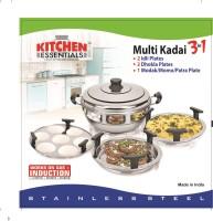 Kitchen Essentials Induction Bottom Multi Kadai with 5 Plates (2Idli+2Dhokla+1 Patra) Stainless Steel Steamer