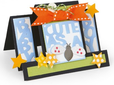 SIZZIX Framelits Die Set 15PK - Card, Cute as a Bug Step-Ups 660717 Decorative Stencil