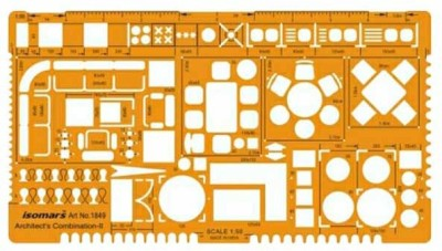 Isomars 1849 Architect template 1:50 Stencil(Pack of 1, Functional)