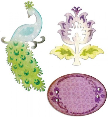 SIZZIX Thinlits Die Set 3PK - Peacock, Frame & Flower 659070 Decorative Stencil