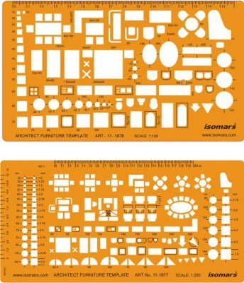 Isomars 1877-1878 Architect Furniture Template Stencil(Pack of 2, Functional)