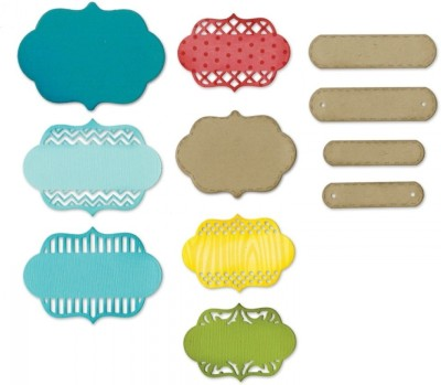 SIZZIX Thinlits Die Set 12PK - Ornate Labels 659711 Labels Stencil