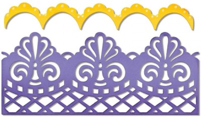 SIZZIX Thinlits Die Set 2PK - Damask & Scallop Borders 658945 Border Stencil