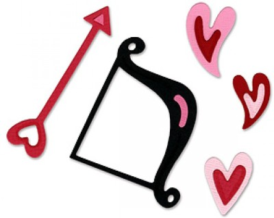 Sizzix Sizzlits Die Set 3PK - Cupid Bow & Arrow w/Hearts Set 655674 Die Stencil