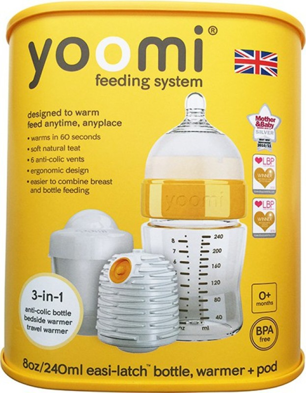 Yoomi 8oz bottle + warmer + slow flow teat+ Pod - 1 Slots(orange)