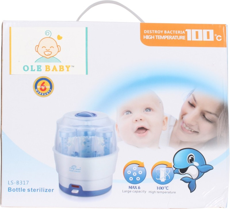 Ole Baby 6 Feeding bottle Electric Steam Sterlizer cum Food Warmer cum Heating(upto 250 ml each) - 6 Slots(White)