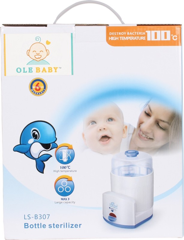 Ole Baby 3 Feeding bottle Electric Steam Sterlizer cum Food Warmer cum Heating(Upt 250 ml each) - 3 Slots(White)