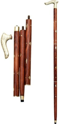 Handicraft Sheesham Wood & Brass Made Walking Stick Polo Stick - 36 inch(Brown, Gold)