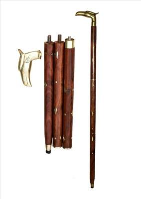 HANDICRAFT Shesham Wood & Brass Made Foldable Royal Polo Stick - 36 inch