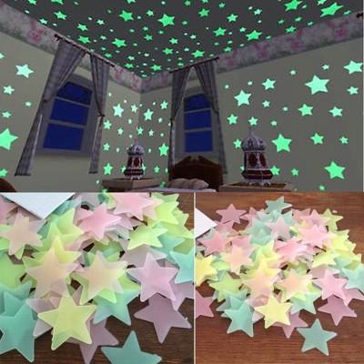Stickonn Small Multi Colour Fluorescent Glow In The Dark Star Wall Sticker Sticker