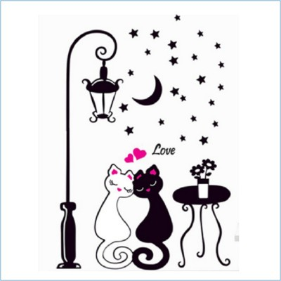 GrabDen Extra Large Romantic Cat Couple under the Street light and Stars Sticker