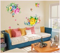 Oren Empower 3d - Very Sweet Colorful Flower Large Wall Sticker(85 cm X cm 120, Multicolor)