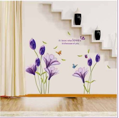 Oren Empower Purple Lily Flower Wall Sticker For Home DéCor(78 cm X cm 130, Purple)