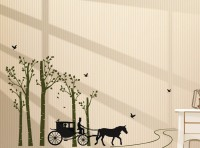 Oren Empower Love Carriage In The Forest Pvc Wall Sticker For Home Decoration(90 cm X cm 150, Multicolor)