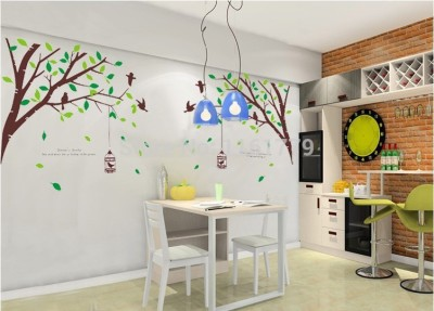 Oren Empower 2pc/Set (Double Sheet) Fashion Design Tree And Birds Wall Stickers