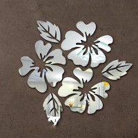 EC Small 3D Acrylic Wall art Decals 3Flower and 3Leaves Sticker(Pack of 6)