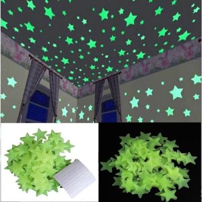 Stickonn Small Green Fluorescent Glow In The Dark Star Wall Sticker