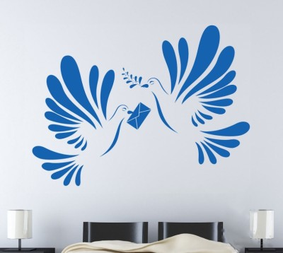 Onebuy.in-Love Birds with Mail Large PVC Sticker
