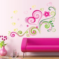 Oren Empower Fashion Design Romantic Flower Wall Sticker(60 cm X cm 80, Multicolor)