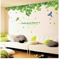 Oren Empower 2pc/Set (Double Sheet) Extra Large Fresh Green Leaves Wall Stickers(120 cm X cm 296, Green)