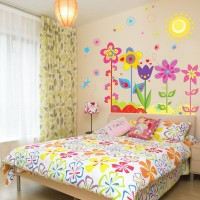Oren Empower Pop Color Flowers With Butterflies & Sun Wall Decals(80 cm X cm 90, Multicolor)
